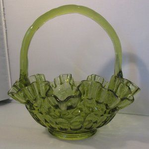 Large Green Glass Ruffled Basket